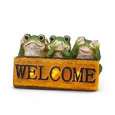 """The Gerson Company 10.6""""L Solar Resin Frogs with Welcome Sign Statue"""