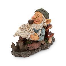 "The Gerson Company 16.1""L Lounging Garden Gnome w/Bird Feeder Statue"