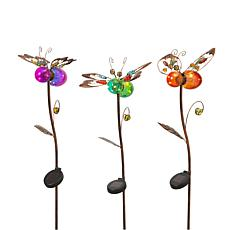 """The Gerson Company 42.9""""H Solar Lighted Flower Yard Stakes 3-pack"""