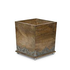 """The Gerson Company Wood and Metal 8.5"""" Square Footed Wastebasket"""