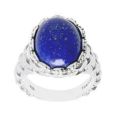 Tiffany Kay Studio Sterling Silver Oval Lapis Knit-Textured Ring