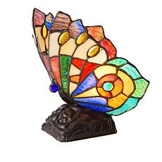 Tiffany-Style Purple Butterfly Art Glass Accent Lamp