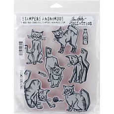 "Tim Holtz Cling Stamps 7"" x 8.5"" - Crazy Cats"