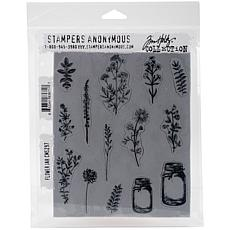 "Tim Holtz Cling Stamps 7"" x 8.5"" - Flower Jar"