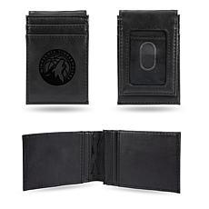 Timberwolves Laser-Engraved Front Pocket Wallet - Black