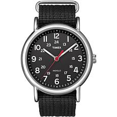 Timex Men's Weekender Black Nylon Slip-Through Strap Watch