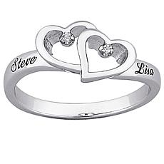 Top-Engraved Diamond Hearts and Name Promise Ring