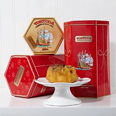 Tortuga Set of 2 Holiday Tins with 8 Golden Rum Cakes - Rec. December