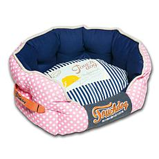 Touchdog Polka-Striped Polo Rounded Fashion Dog Bed - Large