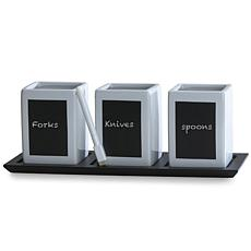 Towle Living 3-piece Ceramic Chalkboard Flatware Caddy