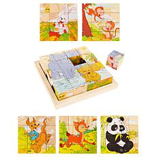 Toy Time 6-in-1 Animal Block Puzzle Zoo Patterns