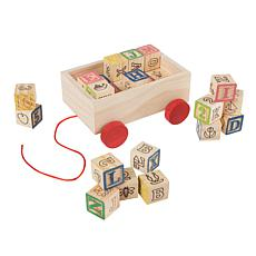 Toy Time ABC and 123 Wooden Blocks with Pull Cart Storage Box