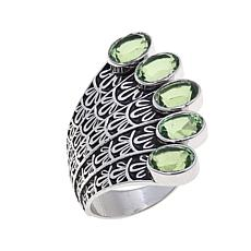 "Traveler's Journey 5ctw Green Quartz ""Peacock"" Ring"