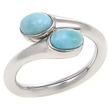 "Traveler's Journey ""Bendy"" Larimar Sterling Silver Bypass Ring"