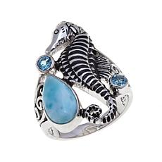 "Traveler's Journey Blue Larimar ""Seahorse"" Ring"