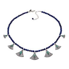 "Traveler's Journey Feldspar-Lapis ""Papyrus"" Necklace"