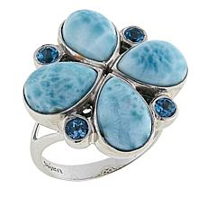 Traveler's Journey Larimar and Blue Topaz Sterling Silver Blossom Ring