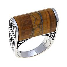 Traveler's Journey Tiger's Eye Bar Sterling Silver Ring