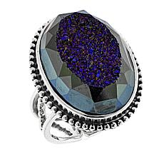 Traveler's Journey Window Drusy Blue Agate Sterling Silver Ring
