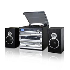 Trexonic 8-in-1 Silver 3-Speed Turntable Stereo System w/ Recording