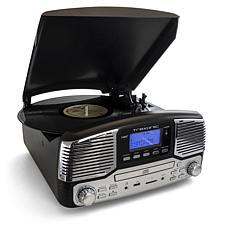 Trexonic Retro Wireless Bluetooth, Record and CD Player - Black