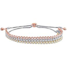 Tri-Color 14K Gold 1.7ctw Diamond 3-Row Bolo-Style Adjustable Bracelet