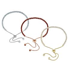 Tri-Color Sterling Silver Gemstone 3-Piece Set Bolo Bracelet Set
