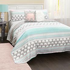 Triangle Home Fashions Elephant Stripe Quilt 4-Piece Set - Twin