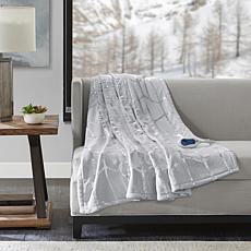 True North Raina Heated Metallic Print Throw - Grey