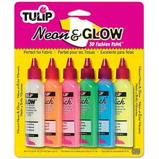 Tulip Dimensional Fabric Paints 1.25oz 6/Pkg - Neon and Glow