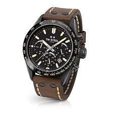 "TW Steel ""Tech Sport"" Black Dial Leather Strap Chronograph Watch"
