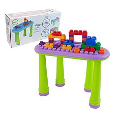 UNiPLAY Soft Building Table with 25-Piece Building Blocks - Purple