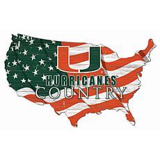 University of Miami USA Shape Flag Cutout