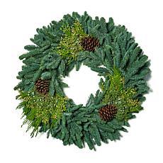 """Van Zyverden Fresh Cut 24"""" Pacific Northwest Mixed Wreath w/Pine Cones"""