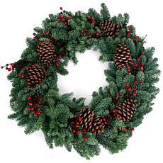 "Van Zyverden Fresh Cut Pacific Northwest 24"" Berry Fresh Wreath"