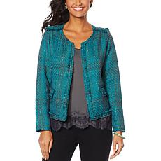 Vanessa Williams Open-Front Tweed Jacket with Pockets
