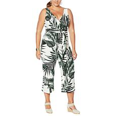 Vanessa Williams Palm-Printed Wrap Jumpsuit