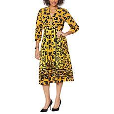 Vanessa Williams Printed V-Neck Maxi Dress