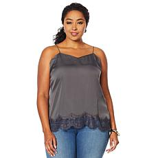 Vanessa Williams V-Neck Cami with Lace Trimmed Hem