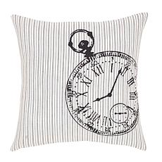 "VHC Brands Ashmont Clock 16"" x 16"" Fabric Pillow"