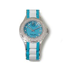 Victoria Wieck Rubber-Link and Crystal Bezel Watch