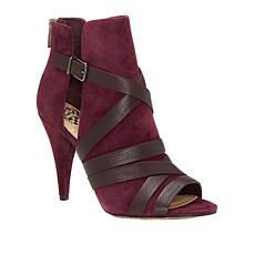 Vince Camuto Achika Suede Belted Peep-Toe Bootie