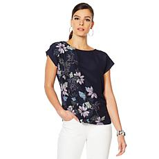 Vince Camuto Floral Mixed-Media Blouse