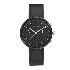 Vince Camuto Men's Multi-Function Dial Black Leather Strap Watch