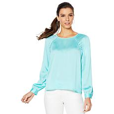 Vince Camuto Raglan-Sleeve Hammered Satin Blouse