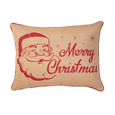 Vintage Christmas Burlap Printed Pillow