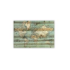 "Vintage World Map 24"" x 36"" Print on Wood"