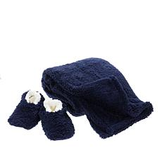 Warm & Cozy Sherpa Throw and Sock Slippers Set