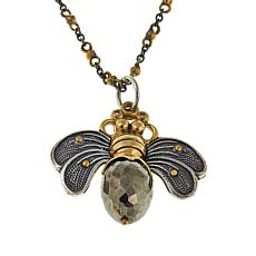 "Waxing Poetic® ""Bee Brave"" Pyrite 2-Tone Bee Pendant with Chain"
