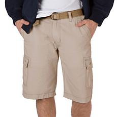 WearFirst Men's 100% Cotton Ripstop Belted Cargo Short